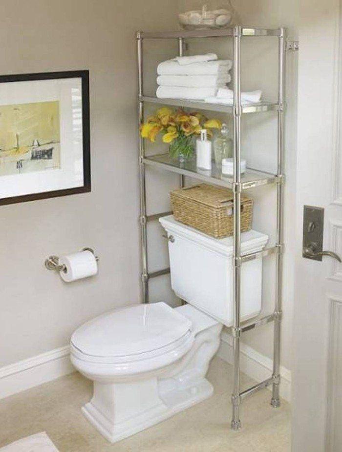 Chrome Over The Toilet Shelf Small Bathroom Storage Ideas Great Small Bathroo Decoracao Banheiro Armazenamento Em Banheiro Pequeno Decoracao Banheiro Pequeno