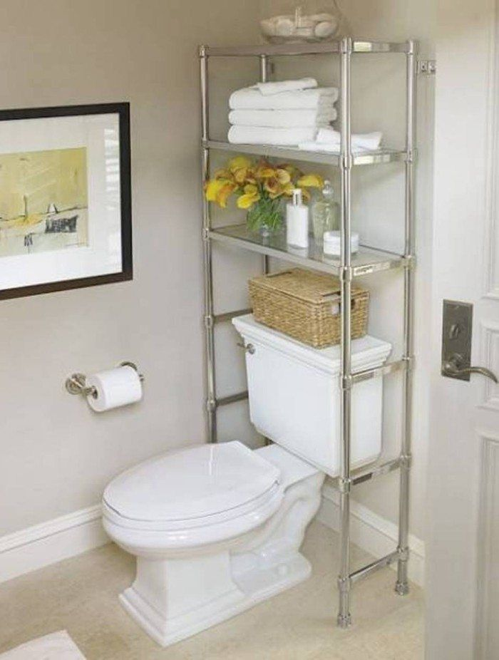 Chrome Over The Toilet Shelf Small Bathroom Storage Ideas Great