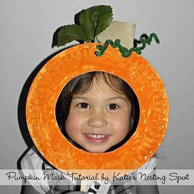 """Paper Plate Pumpkin Mask...take photos and make a bulletin board display of the class """"pumpkin patch"""""""
