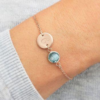 Personalised Initial Disc Birthstone Bracelet