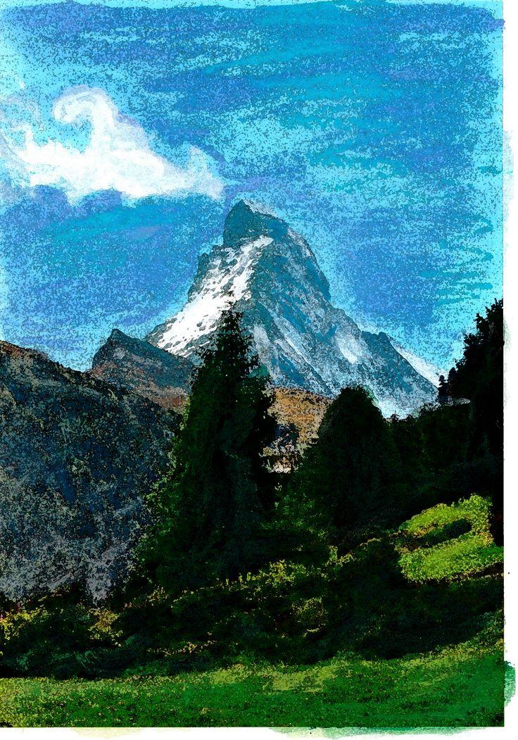 Matterhorn Ad van den Boom Gemengde technieken