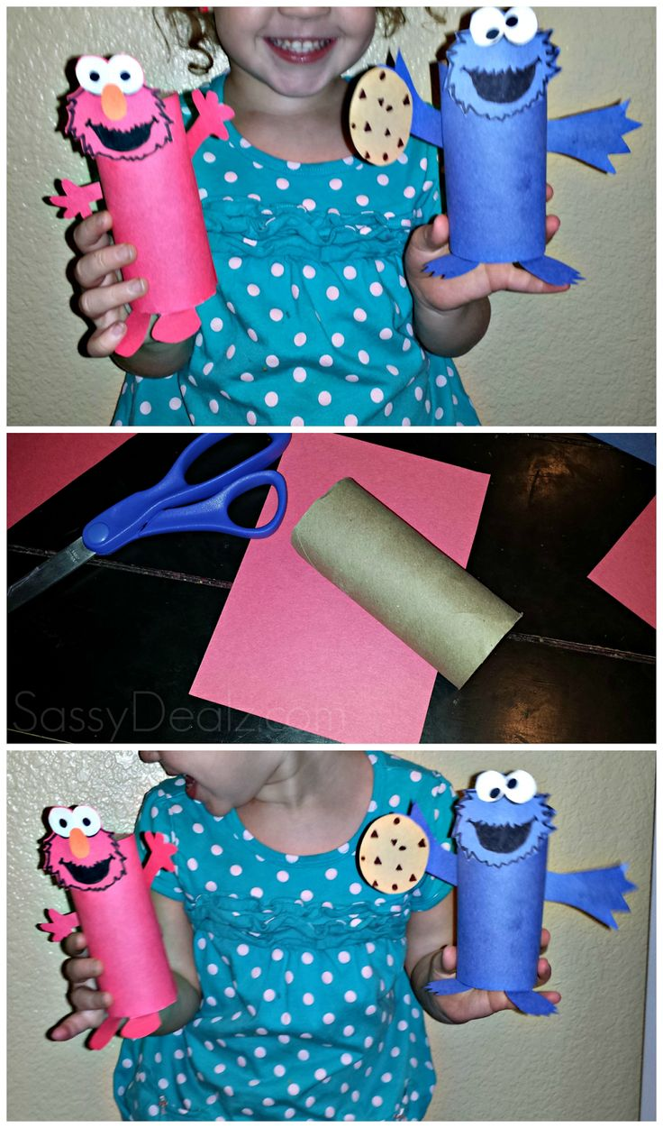 Cheap Elmo & Cookie Monster Toilet Paper Roll Crafts For Kids - Crafty Morning