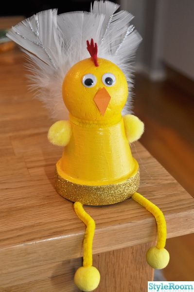 Easter Chick - up cycled plant pot & rubber ball
