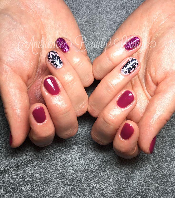 Nail Stamp/Glitter  Accent Nails