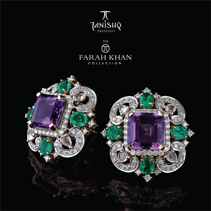 Farah Khan for Tanishq - Amethyst stud earrings surrounded with Emeralds and Diamonds set in Yellow Gold.