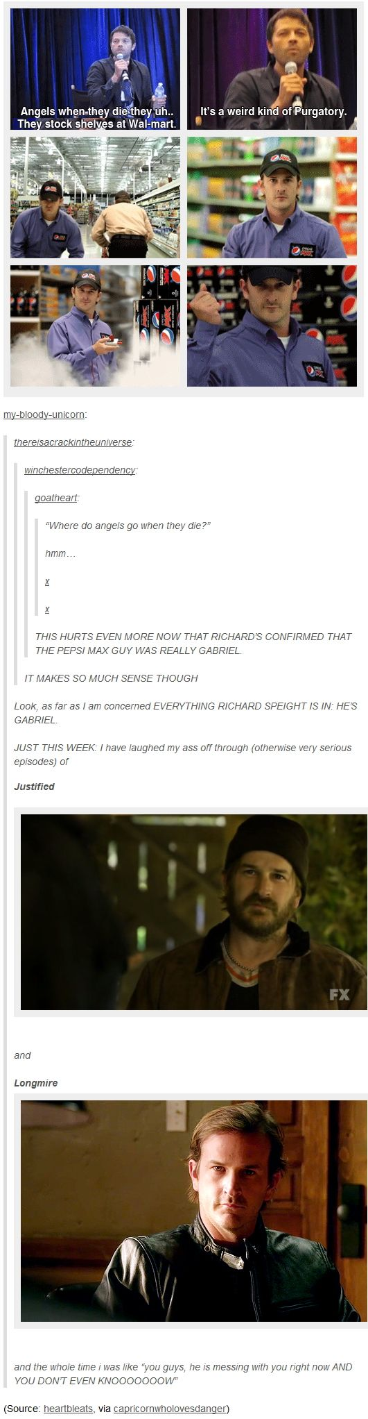"Richard Speight Jr is Gabriel [gifset] - Misha Collins answers ""what happens to angels after they die"" Stock shelves at Wal-mart - Pepsi, Longmire, Justified, Supernatural"