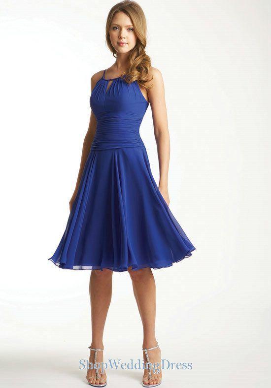 knee length royal blue bridesmaid dress