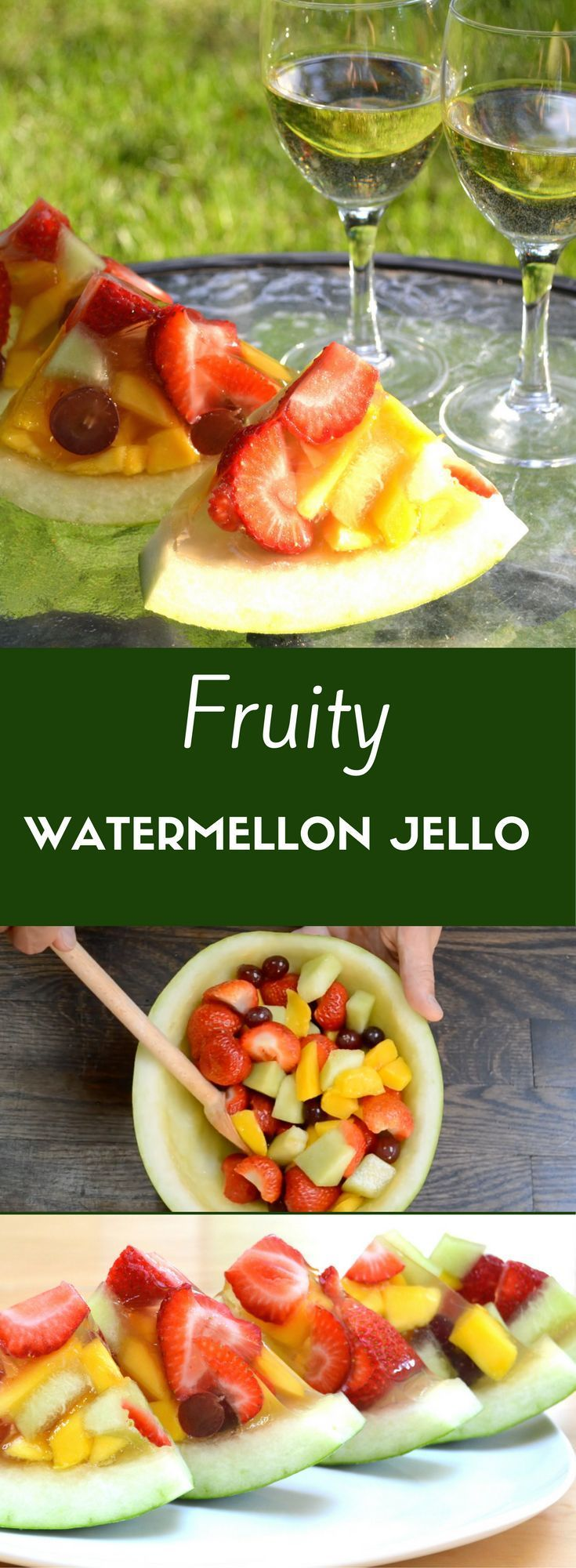 See how to make Fruity Watermelon Jello, our original recipe for fresh fruits set inside a half watermelon. This dessert is perfectly healthy with no added sugar and beautiful too. The video below has already had more than 3 million views on Facebook. We prefer this to boring watermelon jello shots any day. Serve it at your next party with some white wine!
