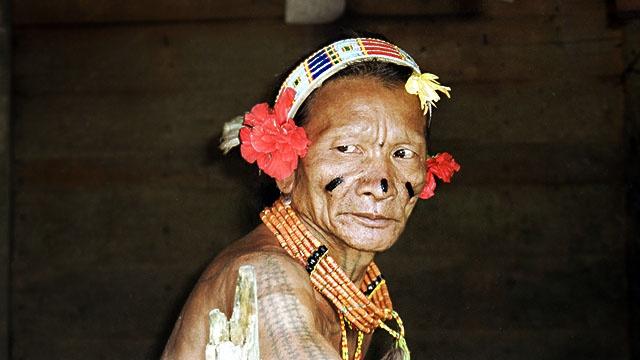 « Homme-fleur ». Les Mentawai (Siberut, Indonésie) se parent de feuilles et de fleurs. [Photo Hubert Forestier, chargé de recherche à l'IRD. UMR 208, Département Hommes, Natures, Sociétés   © MNHN]