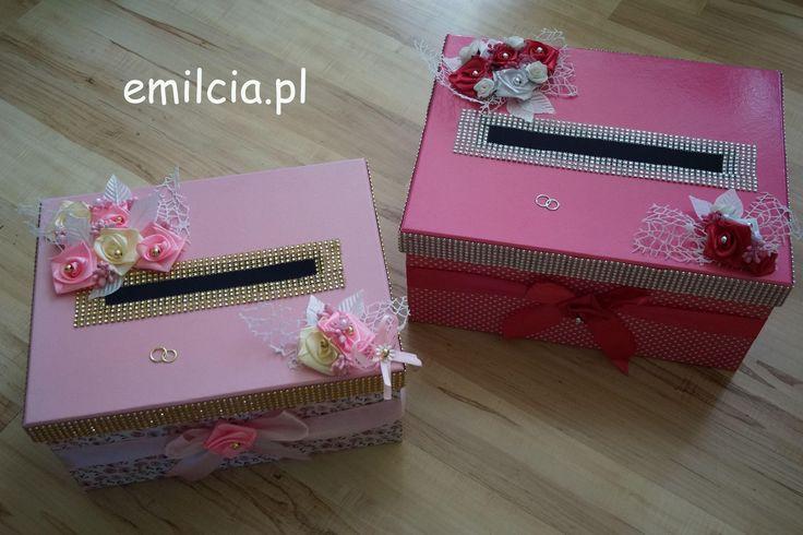 Pudełko - Pudełka na Koperty - Pieniążki .... Ślub, I Komunia Św., Róż ,Wedding