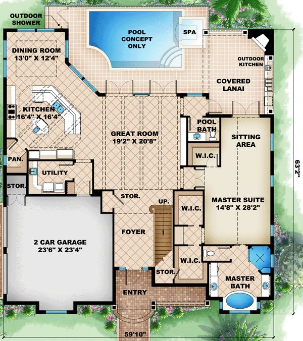 Florida House Plan chp-46846 at COOLhouseplans.com Possible for CMH