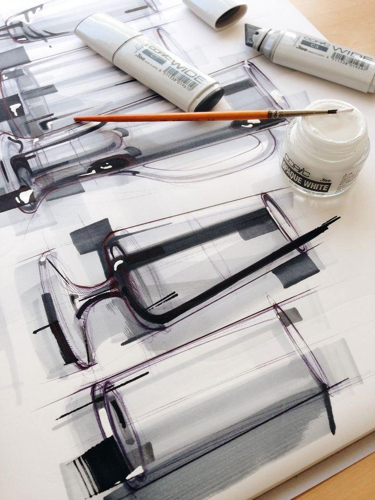 Glass studies with @copicmarker #wide and #copic #opaquewhite #copicmarker #copicwide #sketch #industrialdesign #idsketch #designsketch #design #germanbeer #germany #düsseldorf #glass