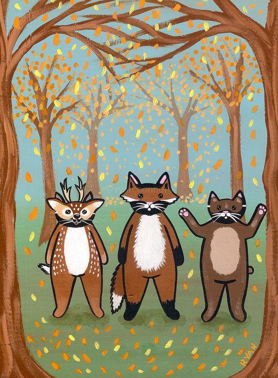 Woodland Cats Original Halloween Folk Art by KilkennycatArt, $85.00