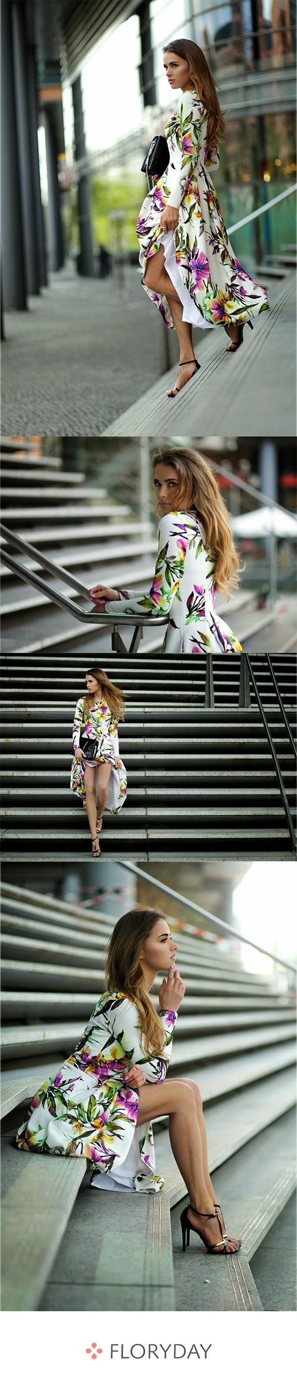Langärmliges Maxi-Kleid in X-Linie und Blumenmuster
