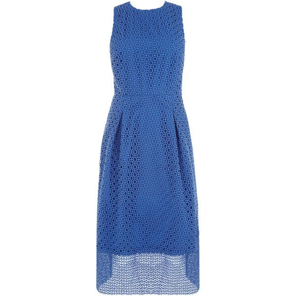 LINEAR DRESS (185 AUD) ❤ liked on Polyvore featuring dresses, party dresses, holiday party dresses, blue lace dress, night out dresses and going out dresses