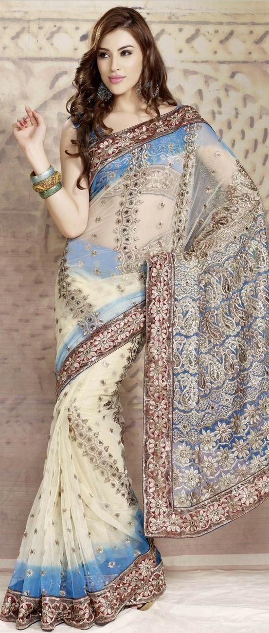 #Cream and #Blue Net #Saree with Blouse