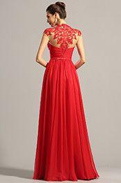 Hoch Ausschnitt Spitze Dekoration Rot Abendk Formal Kleid  #elegant #dress #party #abendkleid #weihnachten