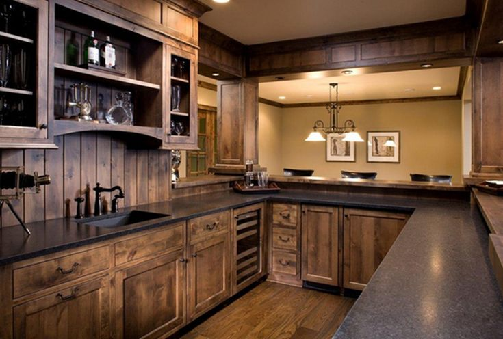 Kitchen : Dark Wood Rustic Kitchen Cabinets Flooring Black Granite Countertops Black Iron Kitchen Faucet Recessed Ceiling Lights Low Rail Track Pendant Lighting Breathtaking Also Attractive Rustic Kitchen Designs To Inspire You Traditional Kitchen. Rustic Items. Rustic Inspiration.