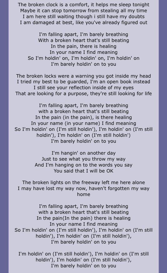 You said that I will be ok. Lifehouse-Broken