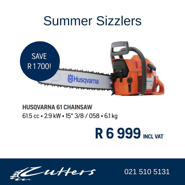 ** Summer Sizzlers ** Husqvarna Chainsaw Model 61 at R6999.00 inc vat. See More: https://goo.gl/uN1kLW