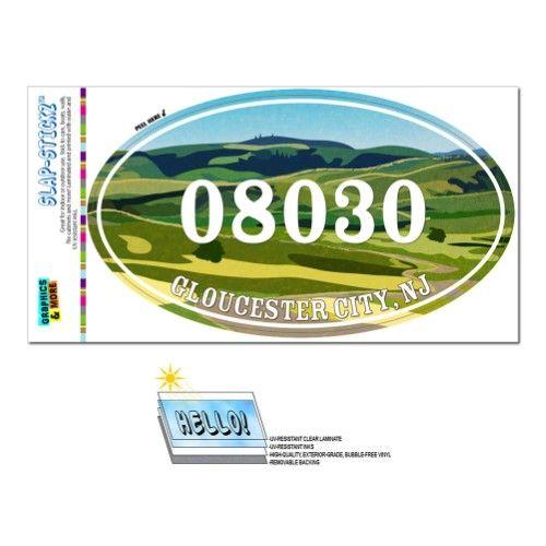 08030 Gloucester City, NJ - Green Rolling Hills - Oval Zip Code Sticker