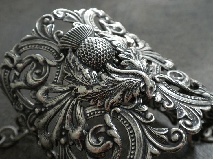 Scottish+Thistle+Jewelry+Silver+Cuff+Bracelet+by+Serrelynda,+$68.00