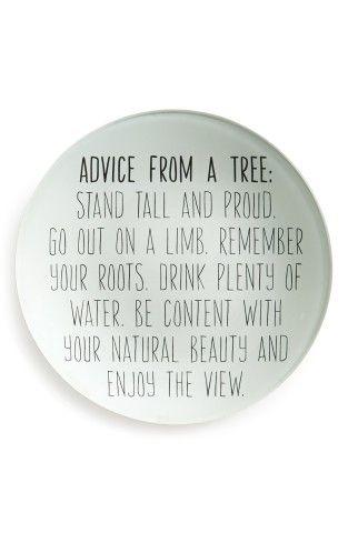 Garden wisdom: Ben's Garden 'Advice From a Tree' Decorative Round Glass Tray   No