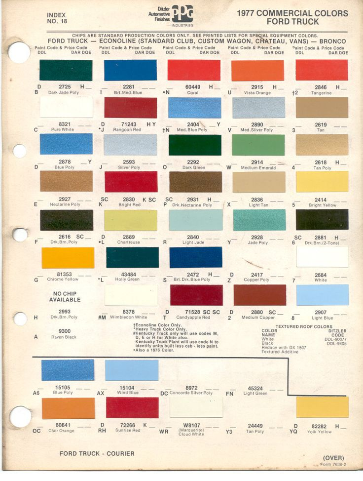 1977 Ford Commercial truck paint chart-Gee, something other than black, white, and silver-nice!