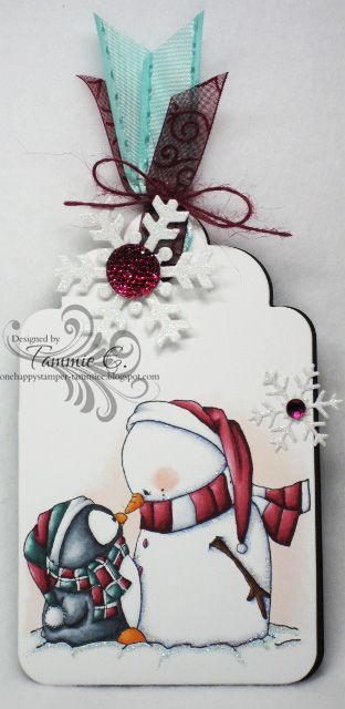 One Happy Stamper...: Snowman has glitter all along his outer edge...so clever!