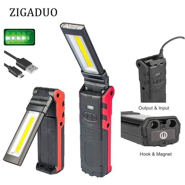 Usb Rechargeable Working Light Dimmable Cob Led Flashlight Inspection Lamp With Magnetic Base Led Flashlight Super Bright Flashlight Usb Rechargeable