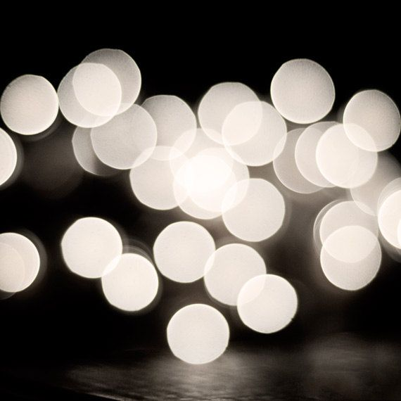 Black and White Abstract Photography - christmas lights print modern photo circles wall art - fine art photography - 8x8 Photograph. $30.00, via Etsy.