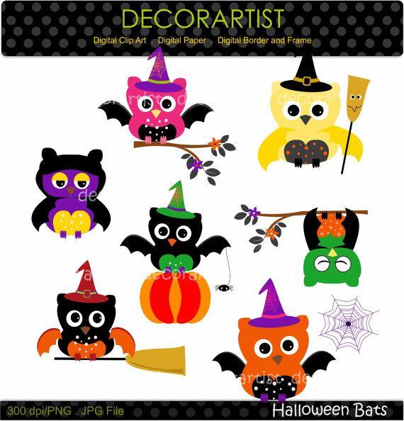Halloween clip art Halloween bats 2 digital clipart by decorartist, $3.50