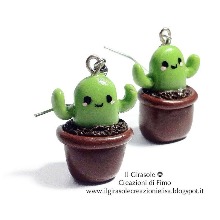 Orecchini pendenti con Cactus Kawaii in fimo , by Il Girasole ❂ Creazioni di Fimo, 6,00 € su misshobby.com