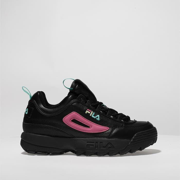 womens black \u0026 pink fila disruptor ii