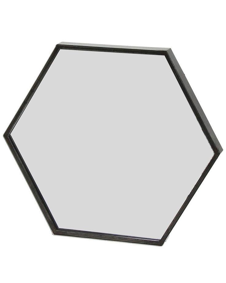 ZEN - BLACK METAL HEXAGON WALL MIRROR W:60CM £99.50