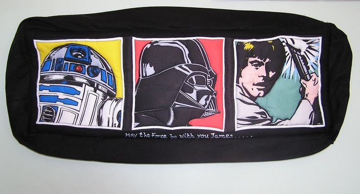 Wanted to try my hand at quilting so transformed this star wars printed fabric into a quilted wall picture.