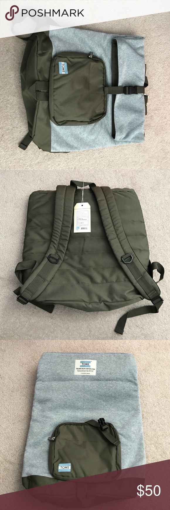 Green / Grey Tom's Backpack(Help Against Bullying) Never used, great for travel, large pocket. TOMS Bags Backpacks