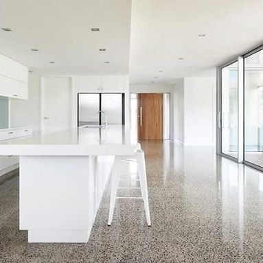 Polished Concrete floor, wood door, white. Home Design, Decorating, and Renovation Ideas on Houzz Australia