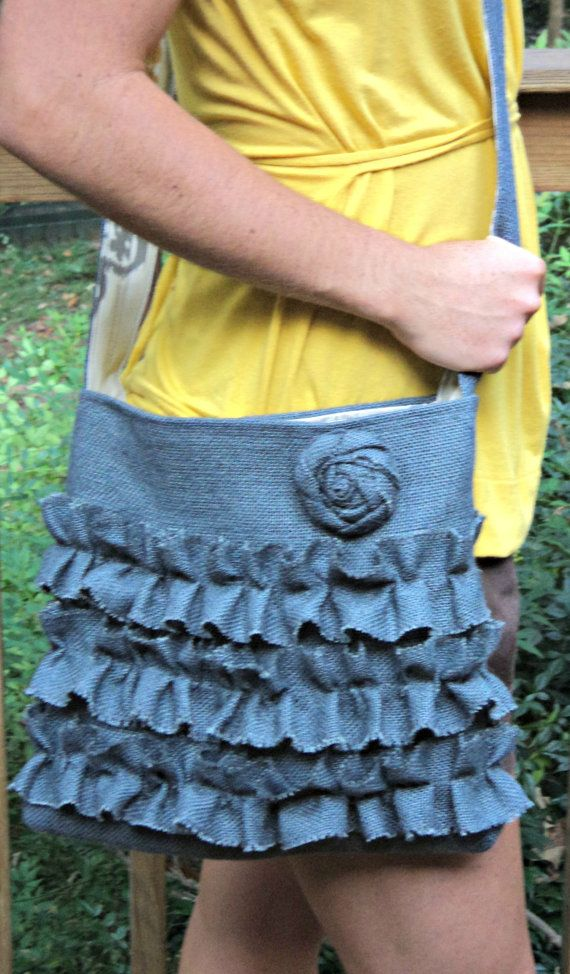 Crossbody Purse Gray Burlap Purse Sling Bag by theruffleddaisy