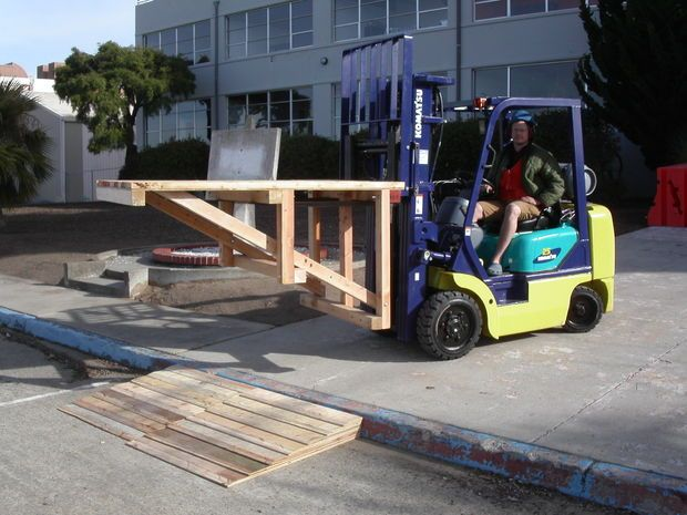 Curb ramp out of pallets