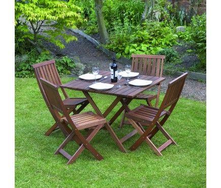 Victoriana 5 Piece Folding Wooden Garden Furniture Set