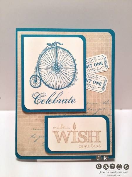 Sentimental Indigo Ticket Wish B'day by jrk912 - Cards and Paper Crafts at Splitcoaststampers