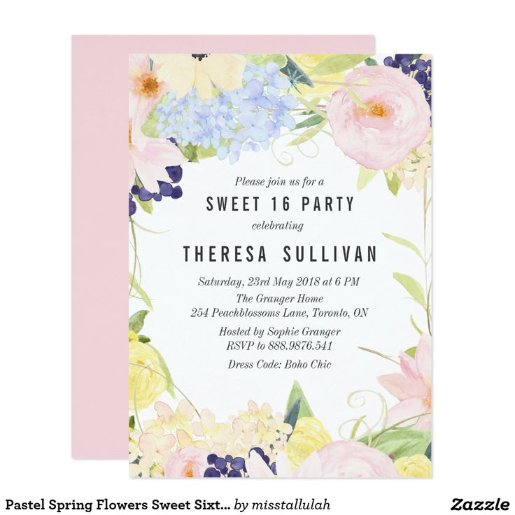 Pastel Spring Flowers Sweet Sixteen Party Card