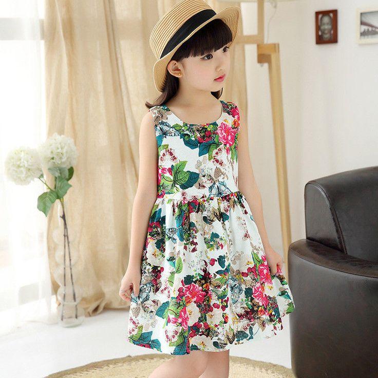Summer Baby Kids Girls Sleeveless Flower Tulle Party Dress Sundress 4-12Y