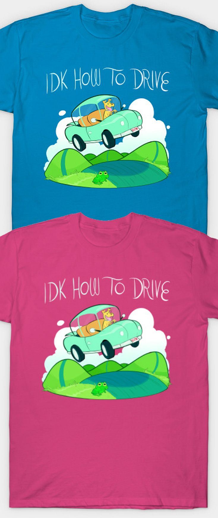 Funny Driving Shirt - IDK (I don't know) How to Drive. Hilarious gag gift to tease a bad driver or a teen who hasn't learned how to drive yet. Teen driving humor, funny drivers test humor quotes. Casual work outfit ideas, first day of school outfit ideas for teens, teen girl  or boy Christmas or birthday party gift ideas, casual school or work outfits, drivers license test tips. Affiliate Link.