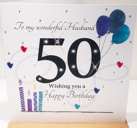 Happy 50th Birthday Card For Husband Herbysgifts Com 6 X 6 Inches 50th Birthday Cards Husband Birthday Card Birthday Cards