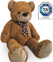 XL Kuschel-Teddybär 100 cm (diag,) groß in Braun - TÜV SÜD geprüft - Kuscheltier Stofftier Plüschbär Teddy