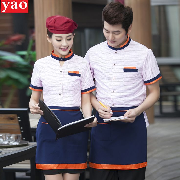 Summer workwear short sleeve female fast food western embroidered clothing hotel bar uniforms mens pink chef coat free shipping