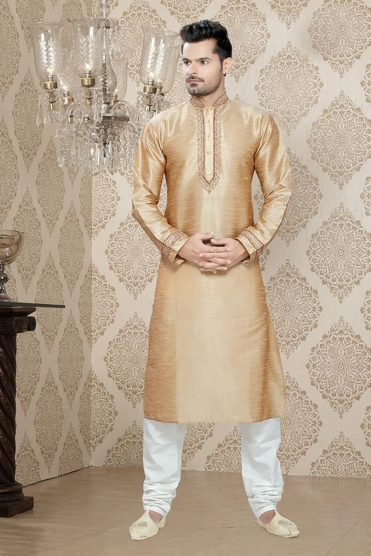 Kurta Pajama for Wedding  Add subtle glamour to your impressive persona in this Beige Art Silk Readymade Kurta. Garment features elaborate Readymade Kurta decorated with different patterns.