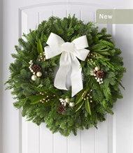 L.L.Bean Fresh Winter White Holiday Fir Wreath